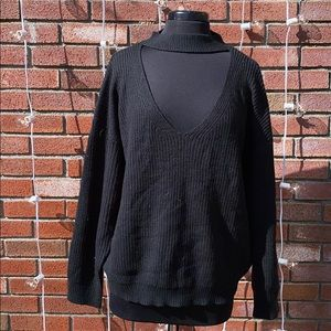 Forever 21 Choker Style Black Sweater Warm Trendy